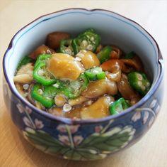日本酒のお供にも、ごはんにのっけてもオススメの即席一品【材料】(2人分)なめこ 80g<さっと湯通し>オクラ 4本<1㎝幅に切って、さっと湯通し>すりおろしし… Home Recipes, Asian Recipes, Cooking Recipes, Ethnic Recipes, Japanese Side Dish, Japanese Food, Japanese Vegetarian Recipes, Food Plating, Meal Prep