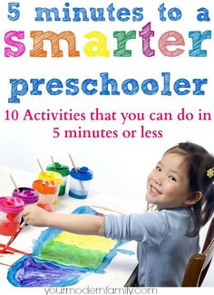 10 preschool lessons/activities for kids that take 5 minutes or less to complete I LOVE this list! So many great ideas that are fast but teach them so much! by PearForTheTeacher Preschool Lessons, Preschool Kindergarten, Preschool Learning, Fun Learning, Learning Activities, Teaching Kids, Activities For 4 Year Olds, Preschool Activities At Home, Educational Activities