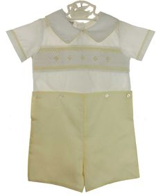 NEW  Butter Yellow and White Smocked Button On Shorts Set with Geometric Embroidery $65.00