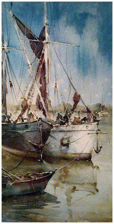 Dušan Djukarić (b1971; Teslić, Serbia (former Yugoslavia) aka Душан Дјукарић Art Aquarelle, Watercolor Landscape, Watercolour Painting, Painting & Drawing, Watercolors, Boat Art, Boat Painting, Guache, Nautical Art