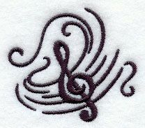 Music's Soothing Swirl  Treble Clef  by forgetmeknottreasure.etsy.com