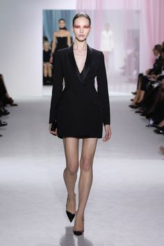 "Dior Spring Summer 2013 Ready-to-Wear – Look 4: Black wool ""Bar"" tuxedo coat dress. Discover more on www.dior.com #Dior#PFW"