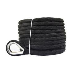 Black Double Braided Nylon Anchor Rope, we specialized in ANCHOR ROPE Anchor Rope, Double Braid, Thimble, Braids, Strength, Stainless Steel, Oil, Black, Bang Braids