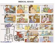 Medical advice given by a doctor vocabulary and basic conversation english lesson English Time, English Study, English Words, English Language, Learn English Grammar, English Idioms, English Lessons, Esl Lessons, Writing Lessons