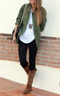 THE WAYS TO WEAR A COWBOY BOOTS #3 WITH LEGGINGS OR THIGHTS Wearing cowboy boots with leggings or tights is a bit more daring than skinny jeans or a dress, but I think it can work really fabulously if you do it right and have the confidence to pull it off!