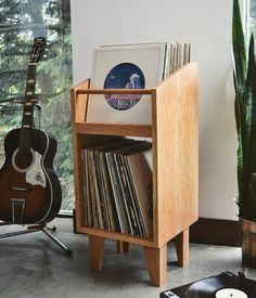 Celebrate Independence Day with affordable audio gear made in the USA - Prather Tretina LP storage rack - Vinyl Record Storage, Lp Storage, Diy Vinyl Album Storage, Stockage Record, Home Furniture, Furniture Design, Furniture Storage, Gothic Furniture, Record Cabinet