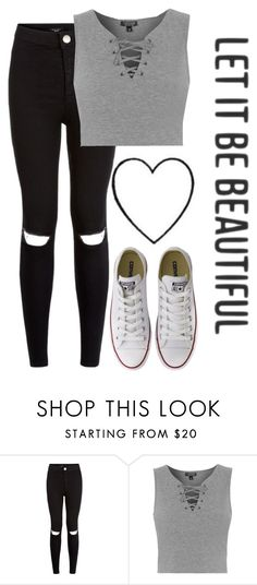 """// are you a hurricane like me"" by virtuallykate ❤ liked on Polyvore featuring New Look, Topshop, Converse and OMGFest"