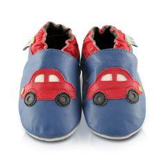 Snuggle Feet – Suaves Zapatos De Cuero Del Bebé coche rojo (6-12 meses)