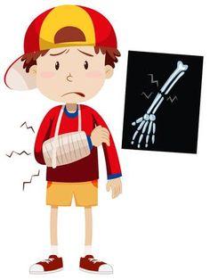 Sad boy with broken arm vector image on VectorStock Preschool Math, Teaching Kindergarten, Grammar For Kids, Wood Badge, Islam For Kids, Clip Art, Cute Clipart, Sick Kids, Art Party
