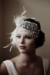 fascinator styles Here are some stunning images and ideas to help you plan a wedding, with inspiration from The Great Gatsby. Wedding Headband, Wedding Veils, Hair Wedding, Wedding Dresses, Wedding Makeup, Wedding Headdress, Feather Headdress, Feather Hat, Wedding Art