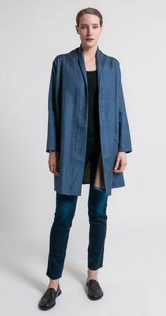 Raga Designs Shibori Silk Dechen Jacket in Blue   Santa Fe Dry Goods & Workshop #raga #ragadesigns #shibori #silk #kantha #kimono #casual #style #clothing #fashion #coat #santafe #santafedrygoods