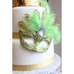Glittery Masquerade Masks (Lime Green Silver overthetopcaketopper ($9.65) ❤ liked on Polyvore featuring costumes