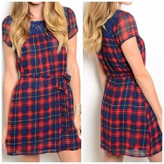Red and Blue Plaid Dress Red and blue plaid dress. With crotchet detailing at the top. Wait ties in the plaid string. Super girly and adorable for any occasion Dresses Mini