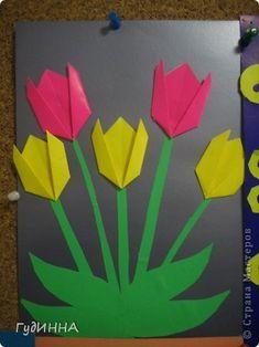 Поделка изделие 8 марта День матери День рождения День учителя Аппликация Оригами тюльпаны Бумага фото 1