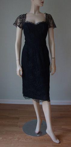 a90c13f57332d 1950s Black Lace Cocktail Dress / Luis Estevez Bombshell Hourglass LBD /  Fishtail Back / Curvy