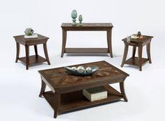 Appeal I Dark Poplar Solidwood MDF 3pc Rectangular Coffee Table Set