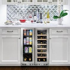 Wine And Beer Fridge, Wine And Coffee Bar, Coffee Bar Built In, Coffee Bar Design, Wet Bar Designs, Home Bar Designs, Wine Cabinets, Kitchen Cabinetry, Wet Bar Cabinets