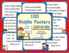 100 math riddle posters, one for each number from one to Lunch box riddles! Classroom Design, Math Classroom, Kindergarten Math, Teaching Math, Teaching Ideas, Classroom Ideas, Kids Jokes And Riddles, Jokes For Kids, Calendar Board