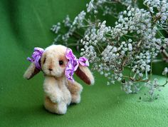 Artist Teddy Bunny - OOAK Miniature collectible Teddy Bunny - Ruby 3.9 inch. Hand sewn. Brown, beige, lilac, white