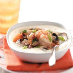 Makeover Shrimp and Grits:  4 servings; 1-1/4 cups grits with 1/2 cup shrimp mixture equals 423 calories, 12 g fat