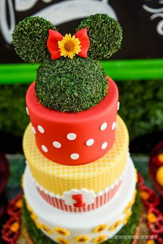 Cake From A Minnie Mouse Sunflower Garden Party On Karau0027s Party Ideas |  KarasPartyIdeas.com