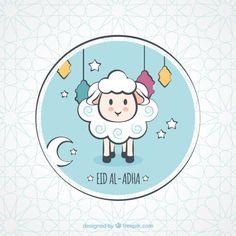 Nice background of hand drawn party lamb Free Vector Feliz Eid Al Adha, Happy Eid Al Adha, Eid Pics, Eid Photos, Eid Mubarak Stickers, Eid Stickers, Eid Adha Mubarak, Eid Mubarak Greetings, Diy Eid Cards