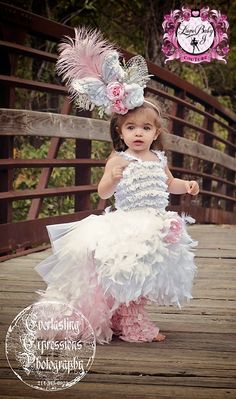 Fleur De La Plume.. A Whimsical Feather Dress With Removeable Train & Bustle - $203.00 :: Love Baby J Boutique - Welcome to Love Baby J Couture - Boutique Clothing For Girls