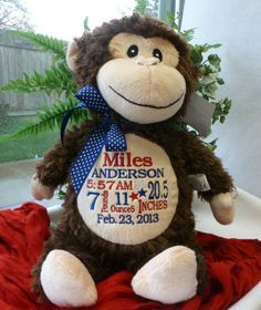 Personalized Baby Gift Unique Baby Gift Baby Cubbies Monkey Blanket PERSONALIZED by World Class Embroidery, $35.00