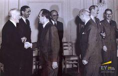 De gauche à droite : le colonel Gordon, George Richardson, Ralph Dilworth, Alex Adamson, Arthur Gilmour, Grant Glassco et Walter Gordon. #EYCa150