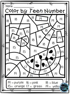 Your students will have fun coloring these 8 Summer Color by Number pictures! These summer color by Numbers Kindergarten, Kindergarten Teachers, Kindergarten Worksheets, Teaching Math, Teaching Teen Numbers, Maths, Teaching Resources, Math Stations, Math Centers
