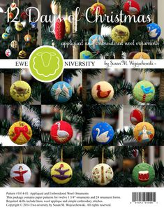 The12 Days of Christmas - Appliqued and Embroidered Wool Ornaments: Ewe-niversity Heirloom Pattern