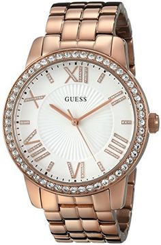 60b511ea766 GUESS Womens U0329L3 Dazzling Oversized Rose GoldTone Watch with Genuine  Crystals  gt  gt  gt