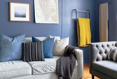 Go inside an inspiring blue living room makeover featuring Clare's newest paint color, Blue'd Up! Eclectic Living Room, Boho Living Room, Living Room Designs, Living Room Decor, Living Rooms, Best Blue Paint Colors, Color Blue, Paint Colors For Living Room, Room Paint