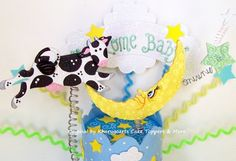 Cow and the Moon Cake topper Nursery Baby shower cake topper | kharygoarts - Children's on ArtFire