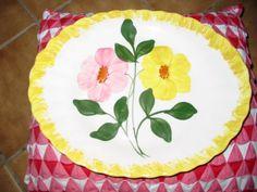 Blue Ridge Pottery Different Platter Yellow & Pink Flowers Nice Piece