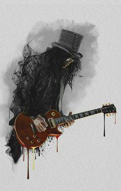 Slash art (Guns 'N Roses) Music Guns N Roses, Heavy Metal, Guitar Art, Music Guitar, Rock Posters, Cultura Pop, Art And Illustration, Art Music, Music Painting