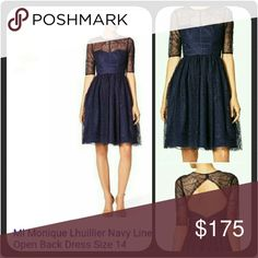 Monique Lhuillier Navy Line Open Back Dress Brand New, Never Worn, Tags Attached - Navy sweetheart neckline peeks through lace pleated overlay, with lace bodice, semi-sheer 3/4 sleeves, fit and flare, knee-length, open back cocktail dress... Monique Lhuillier Dresses Midi