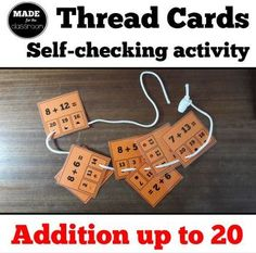 Thread cards, self-checking activity - Addition up to 20 Addition Facts, Addition And Subtraction, Math 2, Adding And Subtracting, Numeracy, Common Core Standards, Elementary Math, Hole Punch, Student Learning