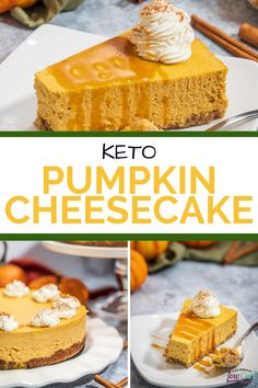 This recipe is for the best keto pumpkin cheesecake from I Can't Believe It's Low Carb. It's super creamy, tasty, and loaded with pumpkin flavors, while still the perfect low carb fall dessert. This delicious recipe is perfect to share with family and is the perfect end to a meal. #recipe #dessert #keto #pumpkin #cheesecake Low Carb Pumpkin Cheesecake, Keto Pumpkin Pie, Cheesecake Bites, Pumpkin Recipes, Fall Recipes, Holiday Recipes, Fall Desserts, Healthy Desserts, Dessert Recipes