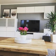 Have a nice day off 🌸 I am allowed to return to the nightschi . Ikea Living Room, Living Room Storage, Condo Living, Ikea Tv Wall Unit, Ikea Organization, Best Ikea, Lounge Furniture, Sweet Home, House Styles