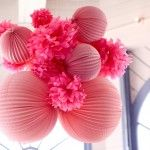 Another idea for decor - a giant cluster of tissue poms and paper lanterns