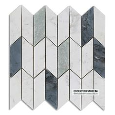 New design white marble mixed Mugwort blue and Ming green chevron marble tile mosaic honed