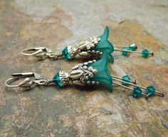 Teal and silver earrings, vintage style lucite flower earrings with crystals, teal blue-green and antiqued silver, Adonia.