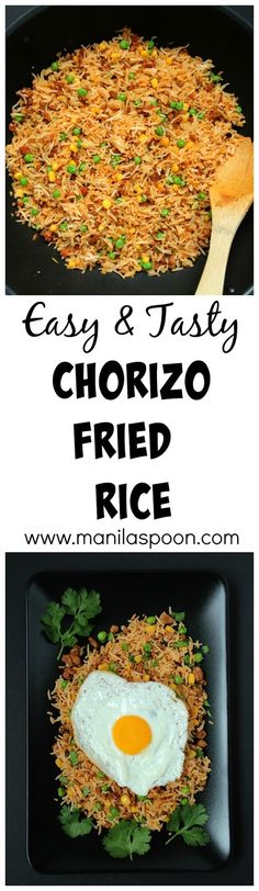 Don't throw away your left-over rice and make this easy and tasty Chorizo Fried Rice. Simply add a few drops of hot sauce to give it a spicy kick! Oh yum!(Honey Chicken And Rice) Asian Recipes, Mexican Food Recipes, Vegetarian Recipes, Dinner Recipes, Cooking Recipes, Healthy Recipes, Ethnic Recipes, Chorizo Rice, Vegetable Side Dishes