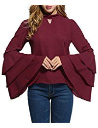 New Locryz Women's Stand Neck Long Bell Sleeve Keyhole Ruffle Blouse Top online. Find the perfect HOTAPEI Tops-Tees from top store. Sku YVQW58928NUTE81054