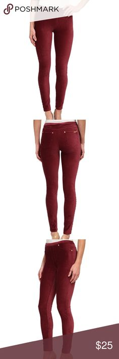 """Michael Kors Stretch Twill Legging • Michael by Michael Kors • Maroon / Dark Red • Soft and Stretchy • Gold Hardware • Belt Loops Along the Top • Two Back Pockets  Measurements: • Waist - 26"""" • Inseam - 2"""" • Rise - 8"""" • Back Rise 13.5"""" • Flare 5"""" MICHAEL Michael Kors Pants Leggings"""