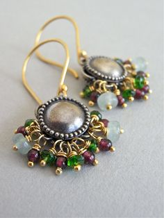 Autumnal Flower - beautiful Balinese silver components house fall coloured gems - aventurine, rhodolite garnet and chrome diopside.  The gems are all housed on vermeil headpins, and finished with bright gold vermeil ear wires.  Petite and luxe!