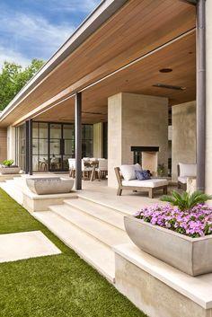 SHM Architects Radbrook Back Exterior Future House, Modern Front Yard, Design Exterior, Stucco Exterior, Exterior Shutters, Craftsman Exterior, Exterior Colors, Backyard Patio, Yard Landscaping