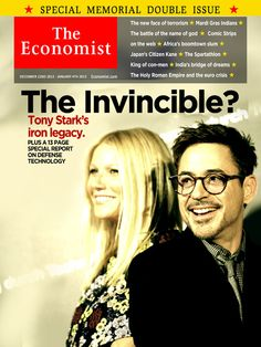 The Economist - December 22, 2012 - January 4th, 2013 With Tony Stark missing, presumed dead, The Economist drops its usual holiday issue for a hard look at a world without Iron Man. Will Iron Patriot take his place with the Avengers, and does the DoD have the resources to maintain the suit? How will Stark Industries fare without its head of research and development? What is the military doing about the Mandarin? Three days after this issue was printed, Stark resurfaced, making many of the…