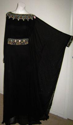 Full black abaya with crystal stone design